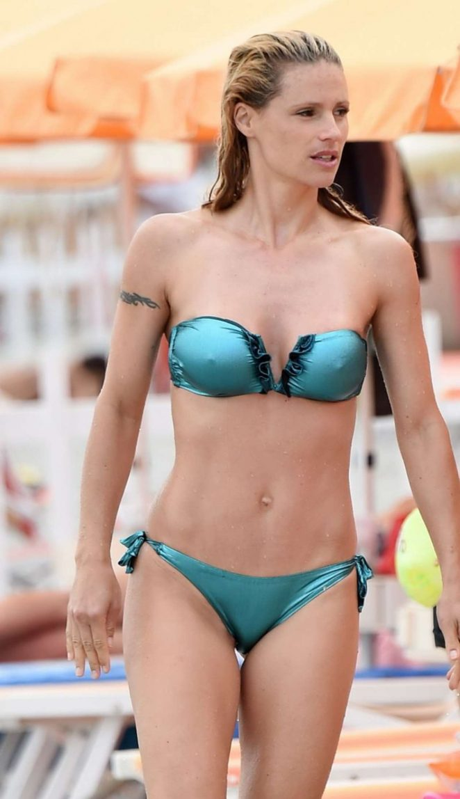 Michelle Hunziker in Bikini on the Beach in Italy