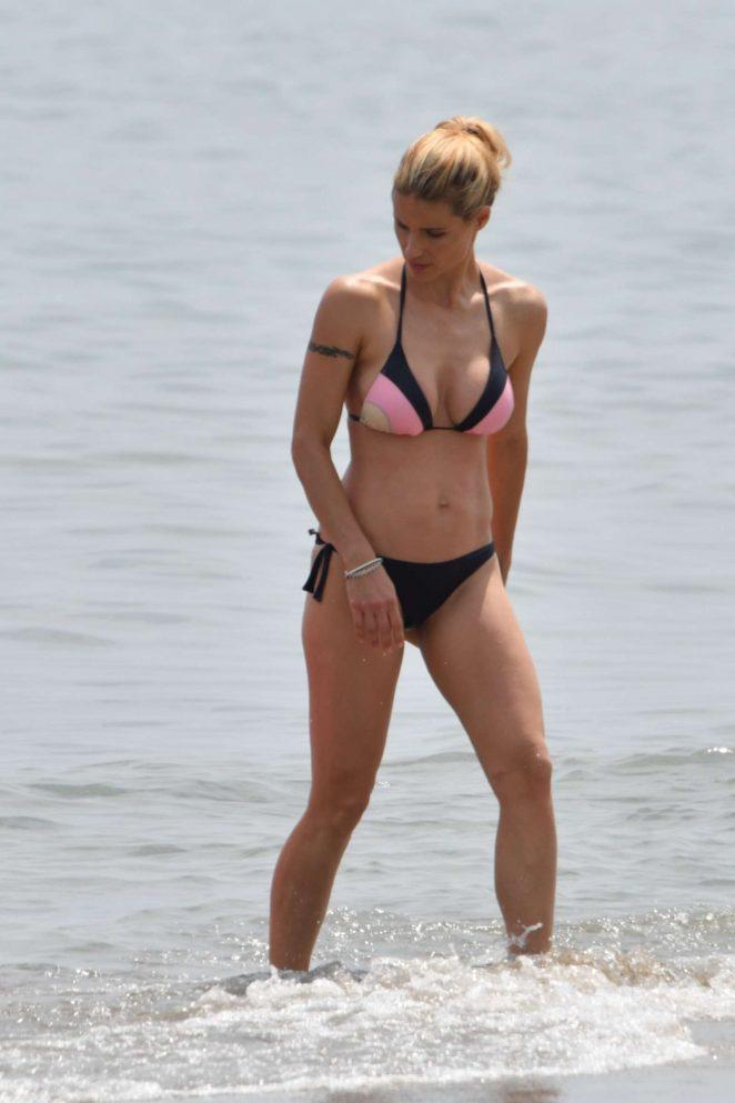 Michelle Hunziker in Bikini on the Beach in Italy