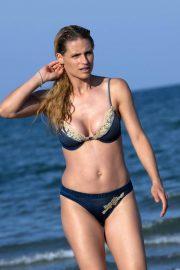 Michelle Hunziker in Bikini on the beach in Milano Marittima