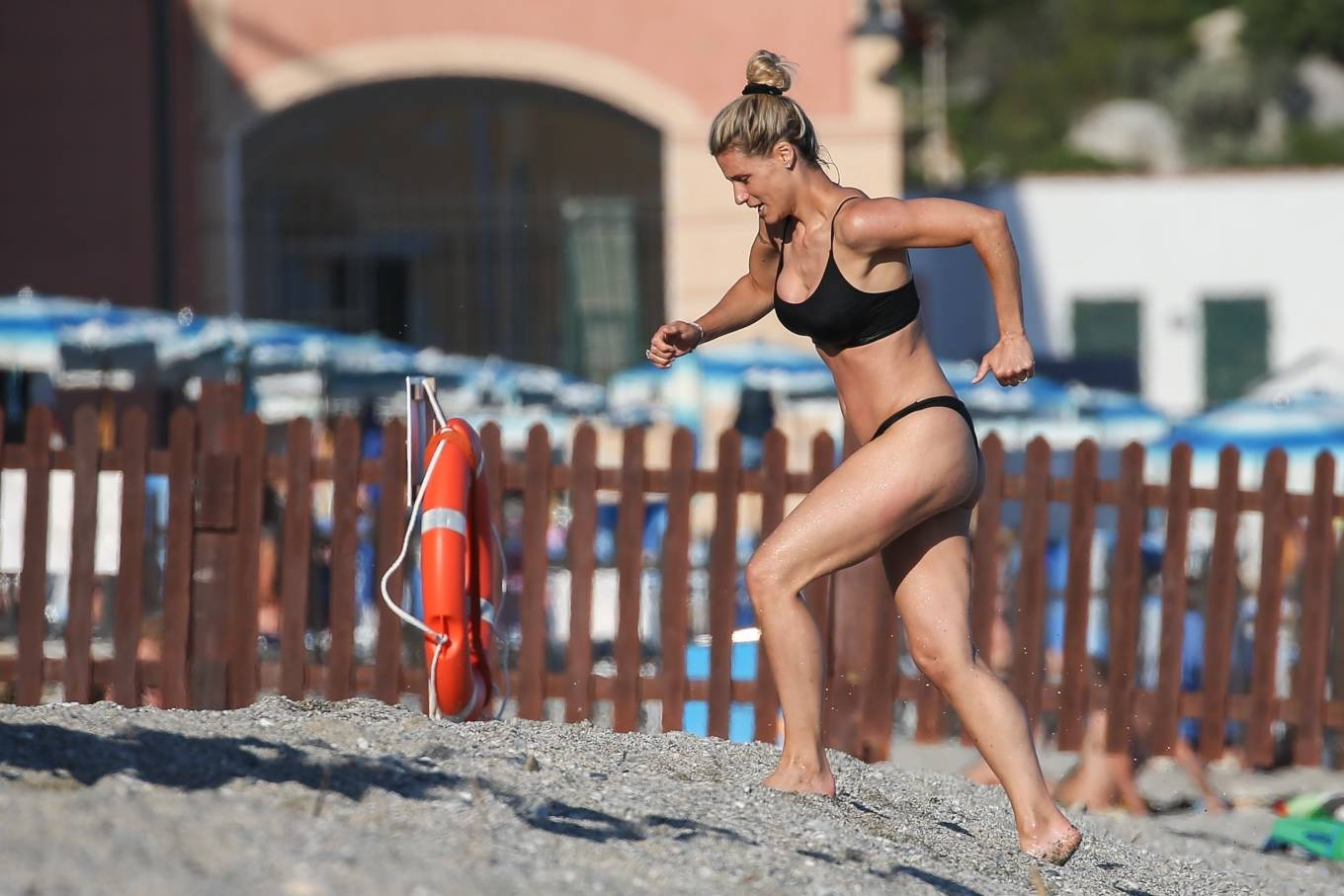 Michelle Hunziker - In black bikini in Varigotti