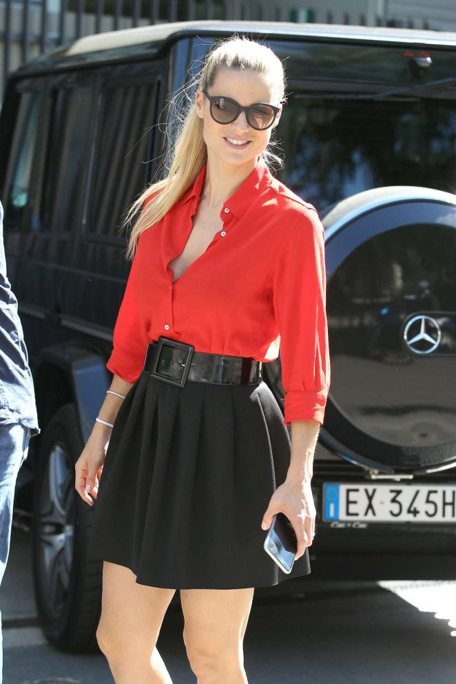Michelle Hunziker in Black Mini Skirt out in Milan