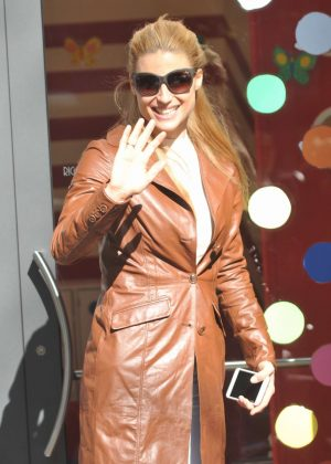 Michelle Hunziker in Brown Coat out in Milan