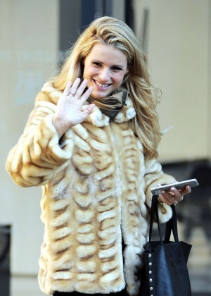 Michelle Hunziker in Fur Coat out in Milan