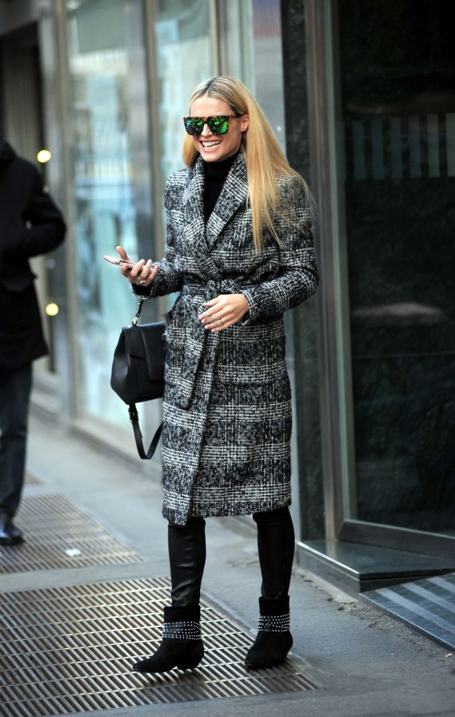Michelle Hunziker in Long Coat out in Milan