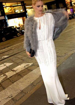 Michelle Hunziker in Long Dress - Out in Milan