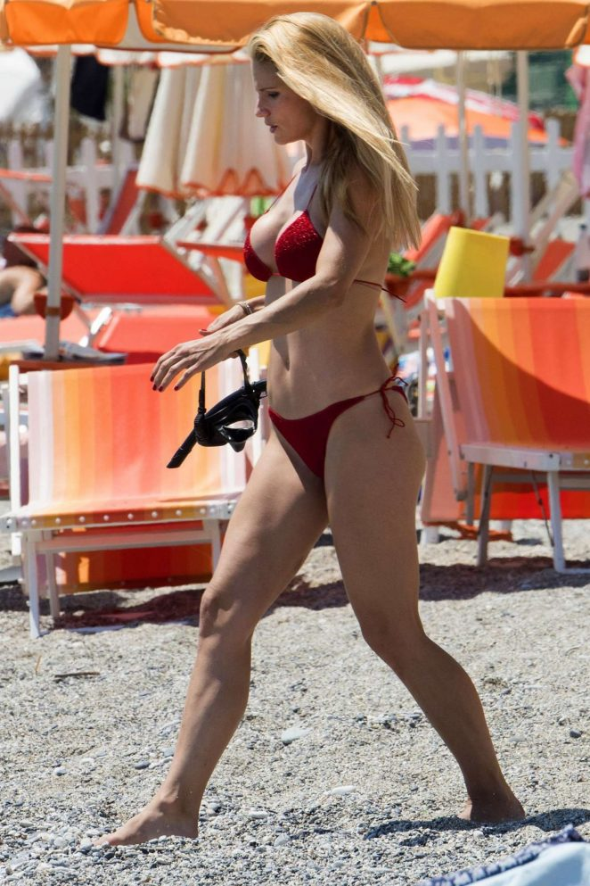 Michelle Hunziker in Red Bikini in Varigotti