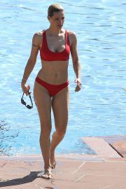 Michelle Hunziker in Red Bikini on Lake Garda in Gargnan
