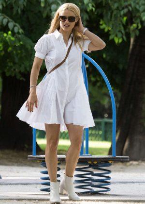 Michelle Hunziker in White Dress out in Milan