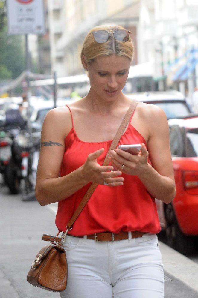 Michelle Hunziker in White Pants out in Milano
