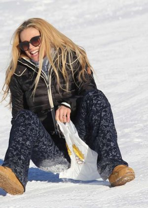 Michelle Hunziker - On snow sled in Pontresina