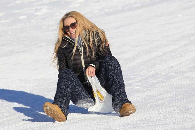 Michelle Hunziker - On snow sled in Pontresina