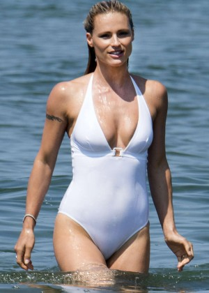 Michelle Hunziker in White Swimsuit in Italy