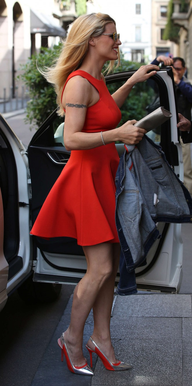 Michelle Hunziker In Red Dress 11