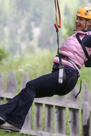 Michelle Hunziker - Pictured at Adventure Park in Colfoco