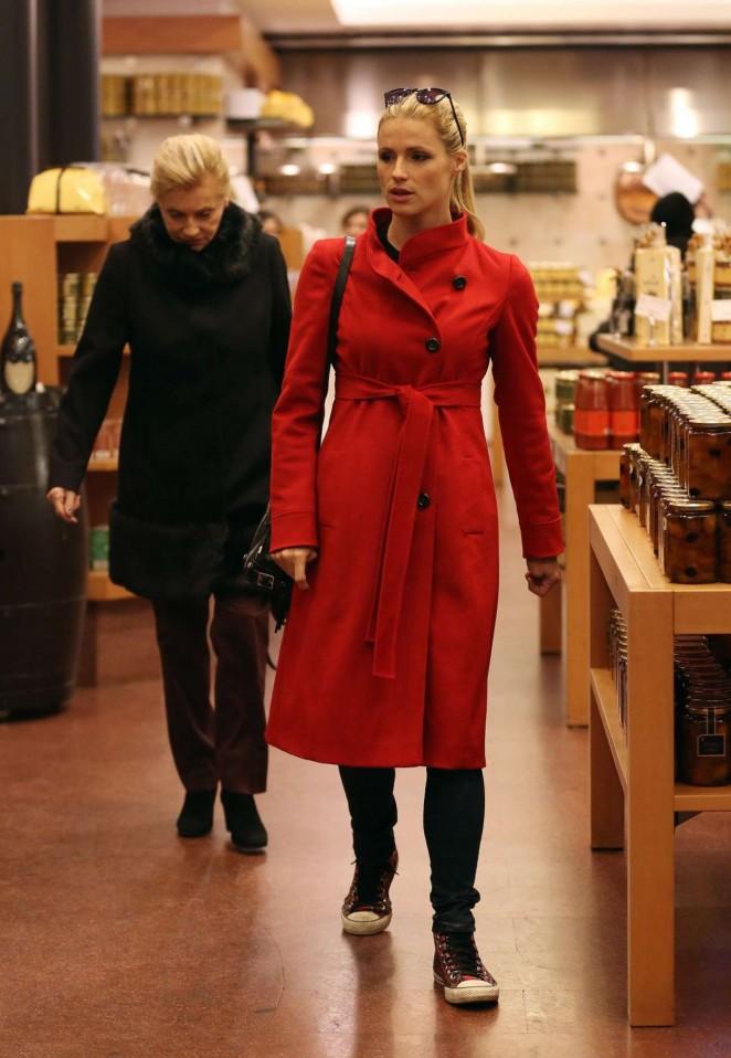 Michelle Hunziker in Red Coat Shopping in Milan