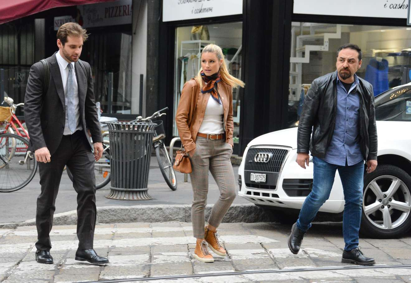 pictures Michelle hunziker and tomaso trussardi at kartell store in milan