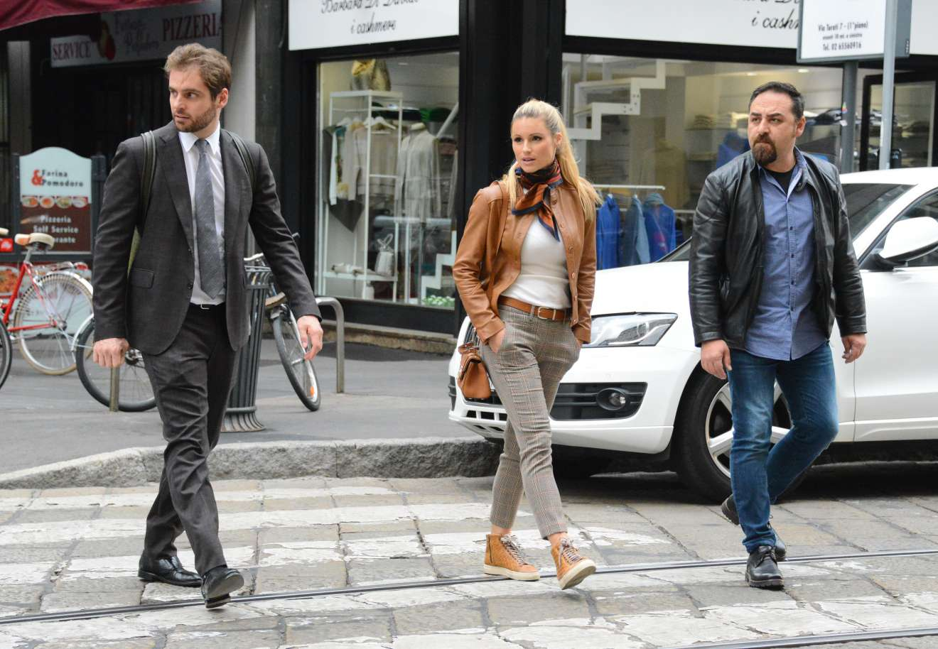 Michelle hunziker and tomaso trussardi at kartell store in milan - 2019 year