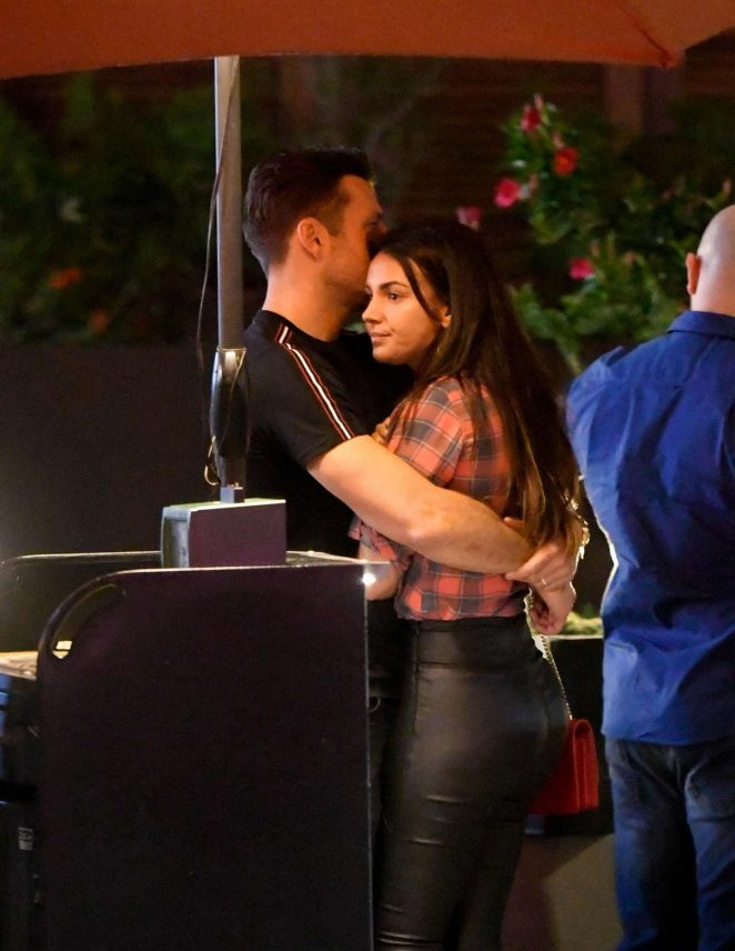 Michelle Keegan and Mark Wright at Restaurant in Los Angeles