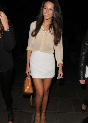 Michelle Keegan in Mini Skirt at Sheesh Restaurant in Chigwell