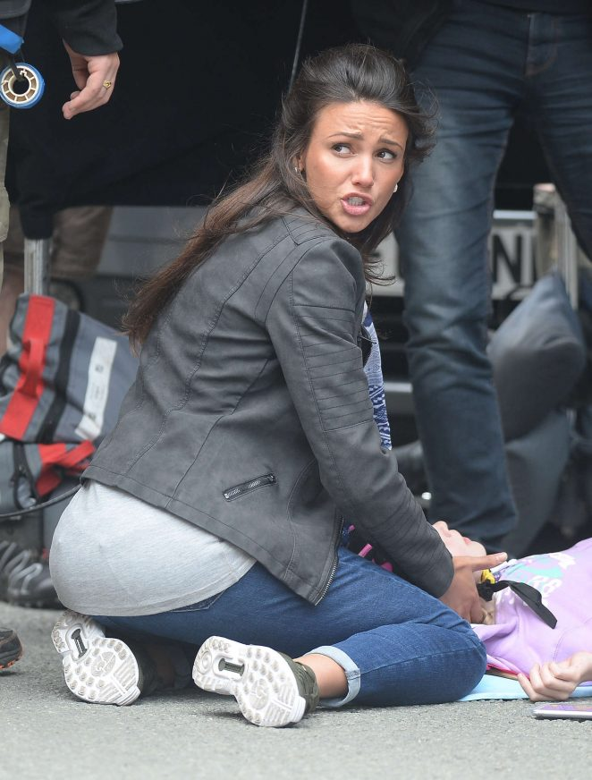 Michelle Keegan - Filming 'Our Girl' set in Manchester