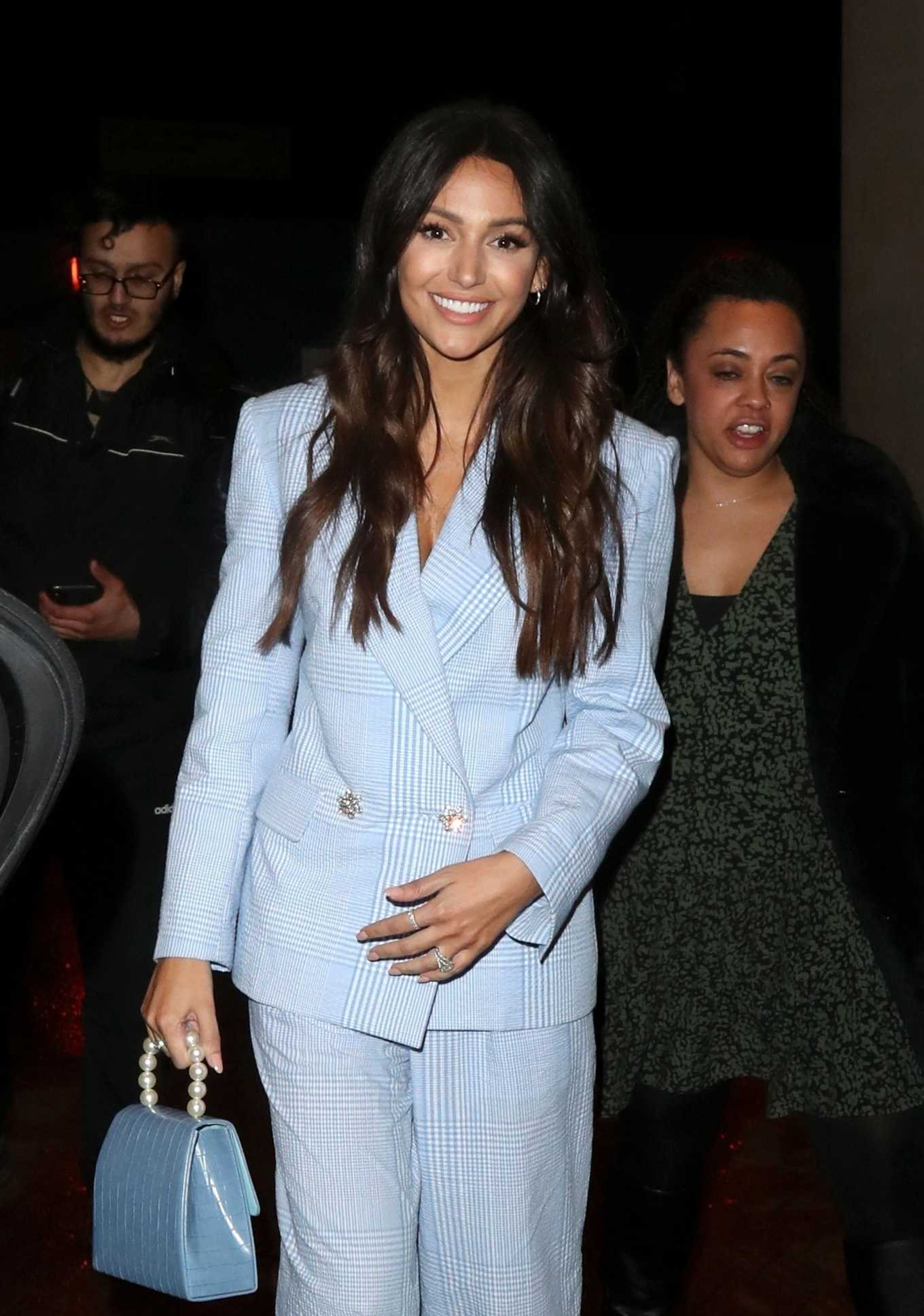 Michelle Keegan in a Lilac Plaid Suit - Out in London