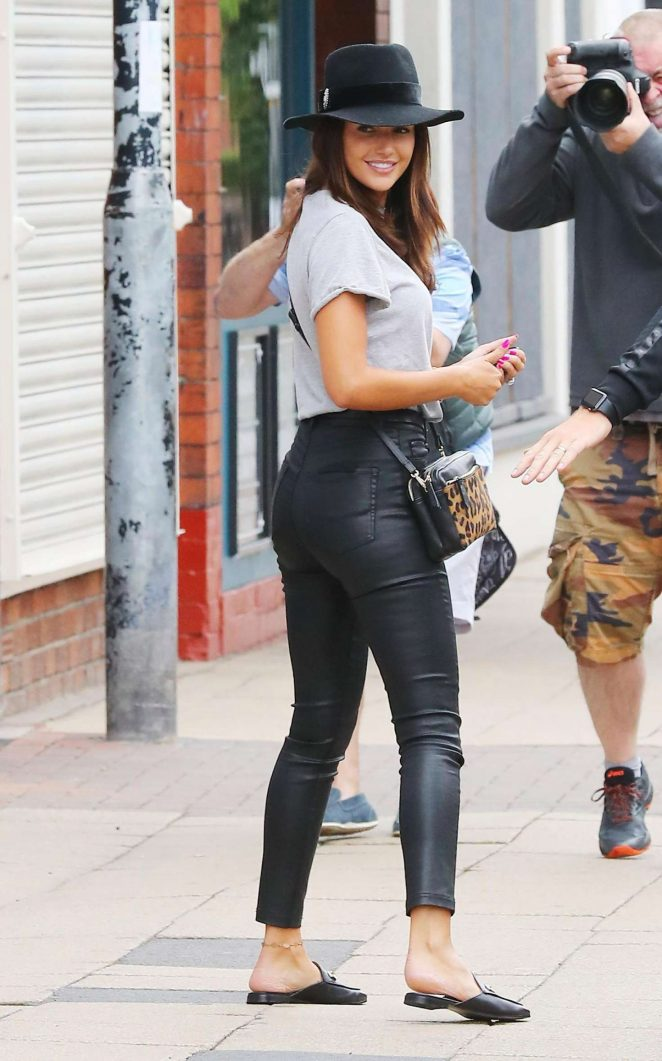 Michelle Keegan in Leather Trousers - Out in Cheshire
