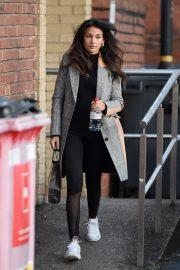 Michelle Keegan in Leggings - Leaves an Hair Salon in Hale Cheshire