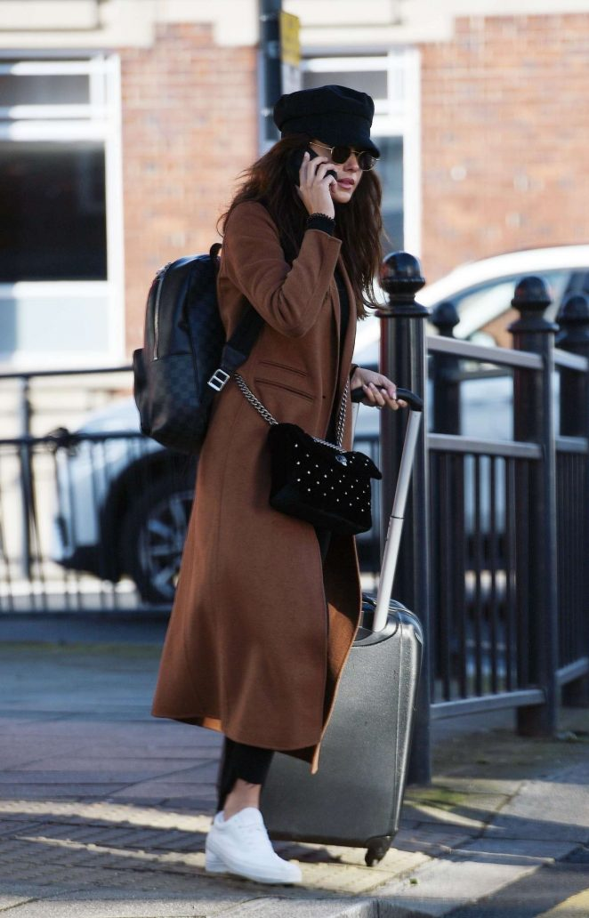 Michelle Keegan in Long Coat – Arrives in England