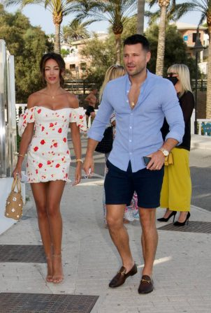 Michelle Keegan in tight summer dress at Olivia's Restaurant in Marbella