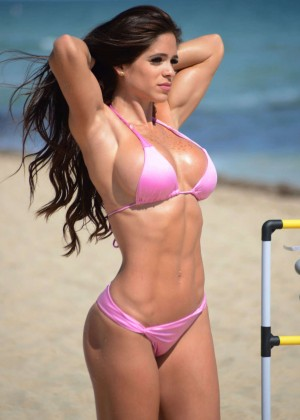 Michelle Lewin in Pink Bikini in Miami