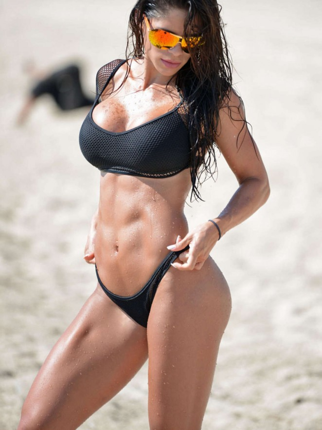 Michelle Lewin in Black Bikini in Miami