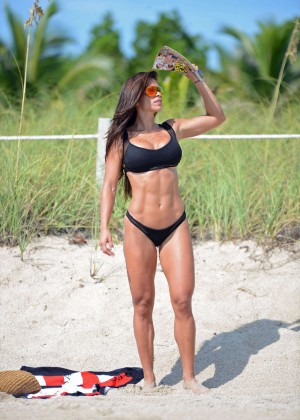 Michelle Lewin in Black Bikini -10