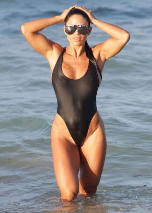 Michelle Lewin in Black Swimsuit 2016 -02