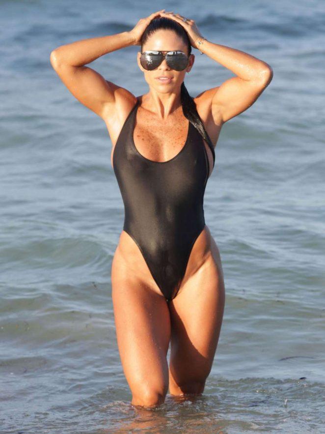 Michelle Lewin in Black Swimsuit in Miami