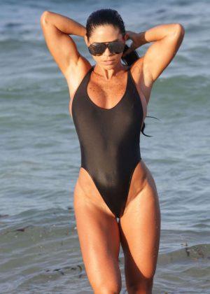 Michelle Lewin in Black Swimsuit 2016 -08