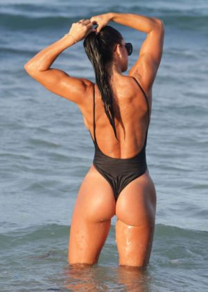 Michelle Lewin in Black Swimsuit 2016 -09