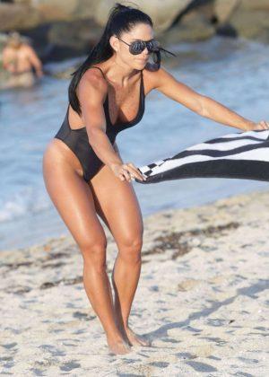 Michelle Lewin in Black Swimsuit 2016 -12