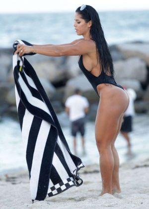 Michelle Lewin in Black Swimsuit 2016 -14
