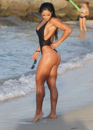 Michelle Lewin in Black Swimsuit 2016 -15