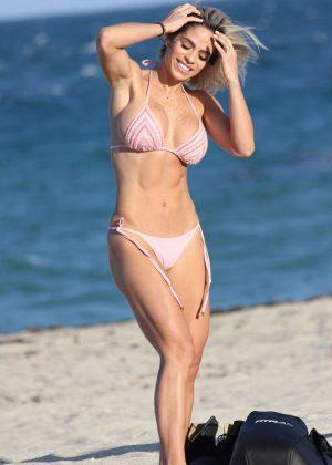 Michelle Lewin in Pink Bikini on the beach in Miami