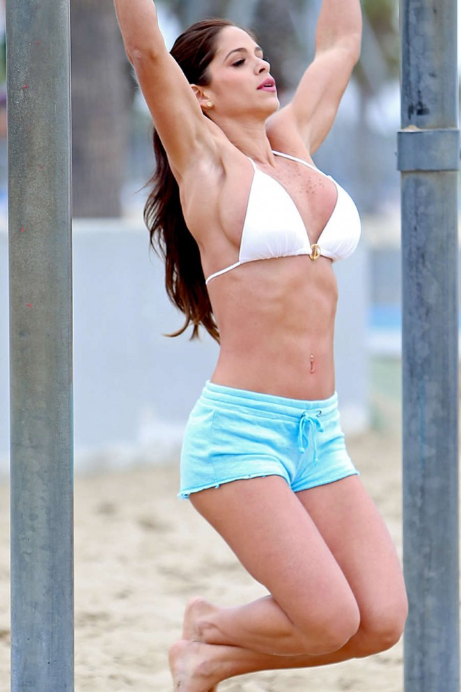 Michelle Lewin in Bikini Top and Shorts Workout at Venice Beach