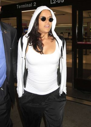 Michelle Rodriguez Arrives at LAX Airport in Los Angeles