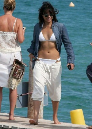 Michelle Rodriguez in White Bikini Top in St. Tropez