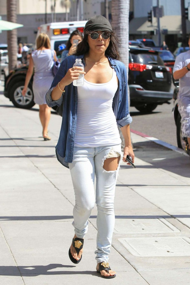 Michelle Rodriguez in Ripped Jeans out in LA