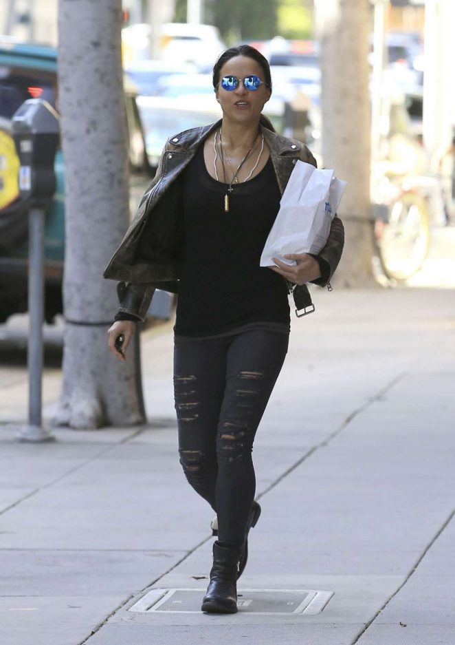 Michelle Rodriguez in Ripped Jeans Out Shopping in Beverly Hills