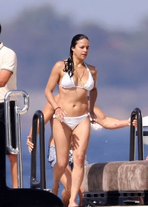 Michelle Rodriguez in White Bikini in Saint Tropez
