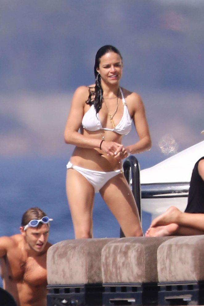 Michelle Rodriguez in White Bikini on a yacht in St. Tropez