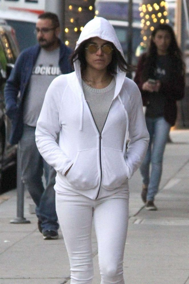 Michelle Rodriguez in White – Heading to Anastasia Salon in Beverly Hills