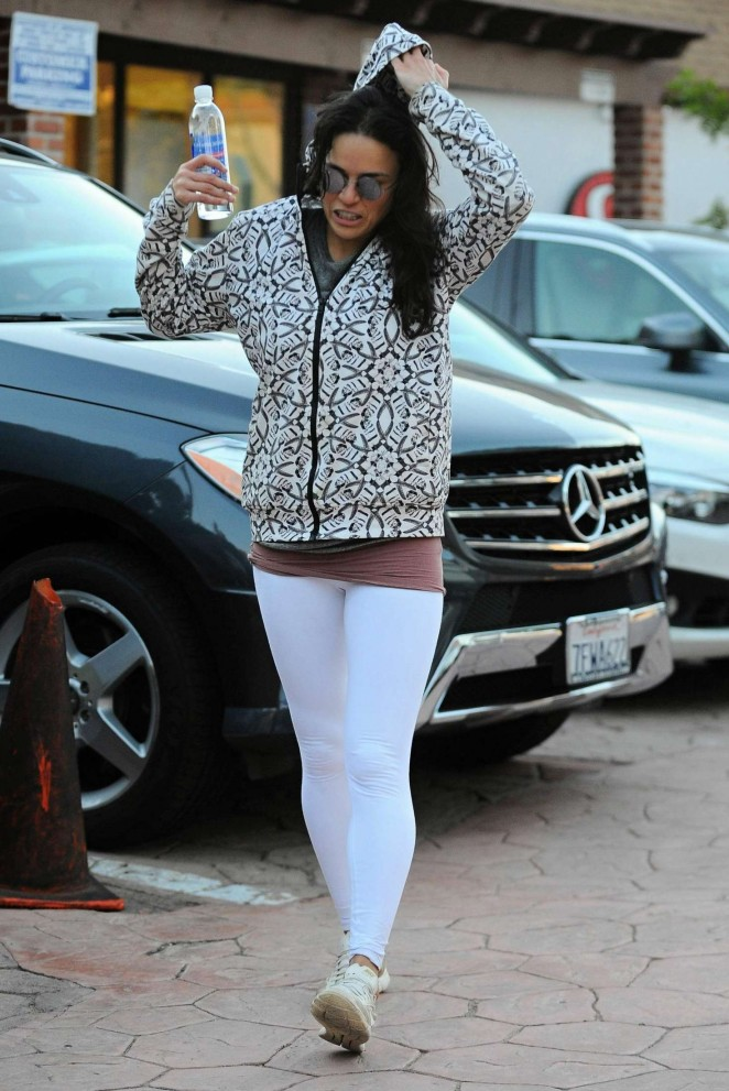 Michelle Rodriguez in White Tights out in Los Angeles