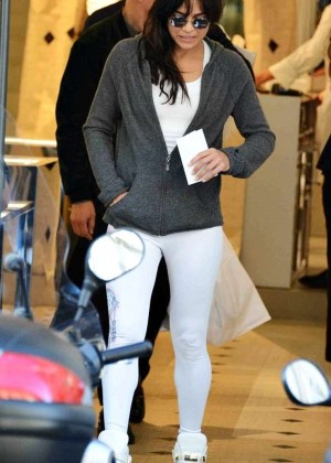 Michelle Rodriguez in White Tights Out in Milan
